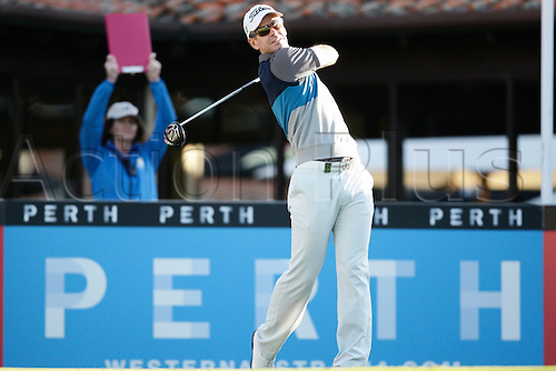 25.02.2016. Perth, Australia. ISPS HANDA Perth International Golf. Scott Strange (AUS) hits his first shot for the tournament on tee 1 day 1.
