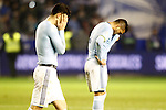 Celta de Vigo's Pedro Pablo Hernandez (l) and Gustavo Cabral dejected after Spanish Kings Cup semifinal 2nd leg match. February 08,2017. (ALTERPHOTOS/Acero)
