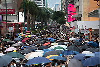Anti-Extradition Bill protestors block major thoroughfares in Tsim Sha Tsui, Kowloon, Hong Kong, China, 04 August 2019.