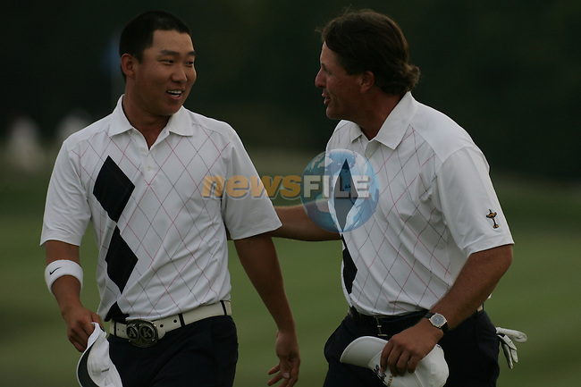 Phil Mickelson and Anthony Kim celebrate winning on the 18th hole in Friday fourballs at the 37th Ryder Cup at Valhalla Golf Club, Louisville, Kentucky, USA - 19th September 2008 (Photo by Manus O'Reilly/GOLFFILE)