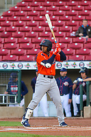 Bowling Green Hot Rods shortstop Wander Franco (4) at bat during a Midwest League game against the Cedar Rapids Kernels on May 2, 2019 at Perfect Game Field in Cedar Rapids, Iowa. Bowling Green defeated Cedar Rapids 2-0. (Brad Krause/Four Seam Images)