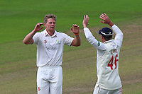Timm van der Gugten (L) celebrates taking the wicket of James Foster during Glamorgan CCC vs Essex CCC, Specsavers County Championship Division 2 Cricket at the SSE SWALEC Stadium on 23rd May 2016