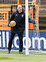 9th February 2020; Indodrill Stadium Alloa, Alloa Clackmannashire, Scotland; Scottish Cup Football, BSC Glasgow versus Hibernian; Referee Alan Newlands inspects the nets before kick off
