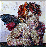 BNPS.co.uk (01202 558833)<br /> Pic: Bluebowerbird/BNPS<br /> <br /> Raphael's bored cherub.<br /> <br /> PopArt - Artist Jane Perkins recreates famous people and paintings from recycled plastic rubbish.<br /> <br /> Her stunning 'Plastic Classics' generate the most interest and sell for thousands of pounds.<br /> <br /> She has created rubbish replica's of famous paiintings by Van Gogh's, Monet, Raphael, Gustav Klimt, Salvi and Frida Kahlo as well as Japanese artist Katsushika Hokusai's the Great Wave of Kanagawa.<br /> <br /> She also creates pictures of animals for private commissions. For example, a stunning work of a tiger's head is made up of objects like plastic toy animals, golf tees and beads.<br /> <br /> Jane, a former hospital nurse from Kenton, near Exeter, Devon, now sells her work for up to &pound;2,500 a go.<br /> <br /> She said: &quot;I go to car boot sales and buy anything that is plastic, mostly toys and bits of broken jewellery, anything small. The neighbours often give me bags of bits and pieces they no longer want. <br /> <br /> &quot;People love them because they can see the whole image but also see what is in it. They can find things in them that they recognise, like little bits from their childhood.