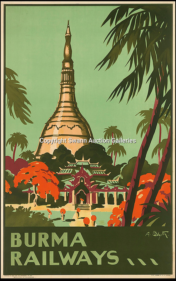 BNPS.co.uk (01202 558833)<br /> Pic: SwannGalleries/BNPS<br /> <br /> ***Please Use Full Byline***<br /> <br /> 1935 Burma Railways - £1000.<br /> <br /> Beautiful posters from the halcyon days of travel up for auction.<br /> <br /> Scarce vintage travel posters promoting holidays across the globe in the 1920's and 30's are tipped to sell for over £200,000 .<br /> <br /> The fine collection of 200 works of art that hark back to the halcyon days of train and boat travel have been brought together for sale.<br /> <br /> The posters were used to advertise dream holiday destinations in far-flung places such as the US and Australia and to celebrate the luxurious ways of getting to them.<br /> <br /> Most of the advertising posters date back to the 1930s and are Art Deco in style and they are all from the original print-run.
