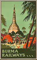 BNPS.co.uk (01202 558833)<br /> Pic: SwannGalleries/BNPS<br /> <br /> ***Please Use Full Byline***<br /> <br /> 1935 Burma Railways - &pound;1000.<br /> <br /> Beautiful posters from the halcyon days of travel up for auction.<br /> <br /> Scarce vintage travel posters promoting holidays across the globe in the 1920's and 30's are tipped to sell for over &pound;200,000 .<br /> <br /> The fine collection of 200 works of art that hark back to the halcyon days of train and boat travel have been brought together for sale.<br /> <br /> The posters were used to advertise dream holiday destinations in far-flung places such as the US and Australia and to celebrate the luxurious ways of getting to them.<br /> <br /> Most of the advertising posters date back to the 1930s and are Art Deco in style and they are all from the original print-run.