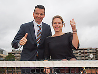 09-01-14, Netherlands, Rotterdam, TC Kralingen, ABNAMROWTT Press-conference, Tournament directors Richard Krajicek and Esther Vergeer (wheelchair)continue for there more years<br /> Photo: Henk Koster