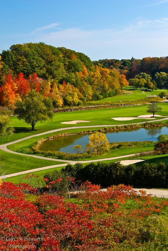 The beautiful fall colours of the Glen Abbey golf course in Oakville, Ontairo.