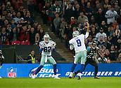 09.11.2014.  London, England.  NFL International Series. Jacksonville Jaguars versus Dallas Cowboys. Cowboys' Tony Romo (#9) passes to Dallas Cowboys' Tight End Jason Witten (#82) for a touch down.