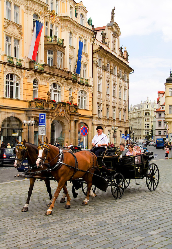 Horse carriage ride in the Old Town district, Prague, Czech Republic