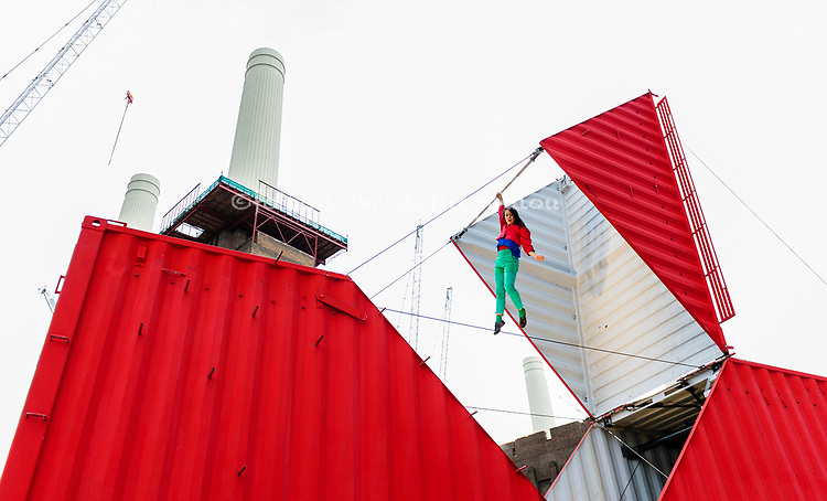 London, UK. 11.10.2017. Origami opens London's Dance Umbrella Festival 2017 at Circus West Village at Battersea Power Station. The performance will also visit Peninsula Square in North Greenwich (12 Oct), Artillery Square in Woolwich (13 Oct), The Queen's Gardens in Croydon (14 Oct) & Trinity Buoy Wharf (15 Oct). Origami was created by Satchie Noro, who also performs the piece, and Silvain Ohl.  Picture shows: Satchie Noro. Photo - © Foteini Christofilopoulou.