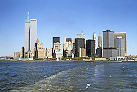New York: Lower Manhattan skyline from Staten Island Ferry. Photo '85.