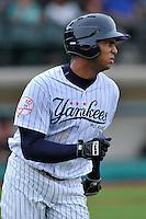 Third baseman Dermis Garcia (70) of the Pulaski Yankees runs out his home run ball in a game against the Bristol Pirates on Tuesday, July 5, 2016, at Calfee Park in Pulaski, Virginia. Pulaski won, 6-3. (Tom Priddy/Four Seam Images)