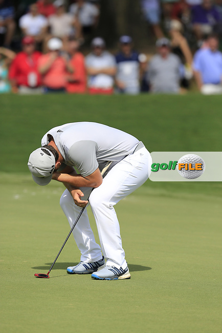 Jon Rahm (ESP) misses his putt on the 18th green during Saturday's Round 3 of the 2017 PGA Championship held at Quail Hollow Golf Club, Charlotte, North Carolina, USA. 12th August 2017.<br /> Picture: Eoin Clarke | Golffile<br /> <br /> <br /> All photos usage must carry mandatory copyright credit (&copy; Golffile | Eoin Clarke)