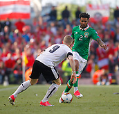 June 11th 2017, Dublin, Republic Ireland; 2018 World Cup qualifier, Republic of Ireland versus Austria; Cyrus Christie (Republic of Ireland) looks for a way past Florian Kainz (Austria)