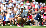 DES MOINES, IA - AUGUST 19: USA's xxxx looks over her putt on the 4th hole of their afternoon four-ball match Saturday at the 2017 Solheim Cup in Des Moines, IA. (Photo by Dave Eggen/Inertia)