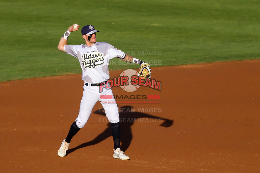 Wisconsin Timber Rattlers shortstop Brice Turang (2) throws to first base between innings of a Midwest League game against the Clinton LumberKings on June 20, 2019 at Fox Cities Stadium in Appleton, Wisconsin. Wisconsin defeated Clinton 5-2. (Brad Krause/Four Seam Images)