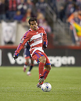 FC Dallas forward/midfielder David Ferreira (10) moves the ball at midfield. The New England Revolution defeated FC Dallas, 2-1, at Gillette Stadium on April 4, 2009. Photo by Andrew Katsampes /isiphotos.com