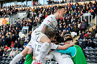 Leeds United's Tyler Roberts celebrates scoring his side's third goal with teammates<br /> <br /> Photographer Alex Dodd/CameraSport<br /> <br /> The EFL Sky Bet Championship - Hull City v Leeds United - Saturday 29th February 2020 - KCOM Stadium - Hull<br /> <br /> World Copyright © 2020 CameraSport. All rights reserved. 43 Linden Ave. Countesthorpe. Leicester. England. LE8 5PG - Tel: +44 (0) 116 277 4147 - admin@camerasport.com - www.camerasport.com