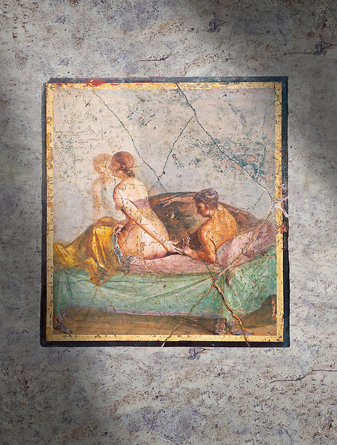 A Roman erotic fresco painting from Pompeii,  Naples National Archaeological Museum , form the venereum, a room for sexual activities, of Casa di Cecilio Giocondo 50-79 AD  , inv no 10569 , Secret Museum or Secret Cabinet,