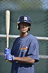 18 August 2012: Brooklyn Cyclones outfielder Eudy Pina awaits his turn in the batting cage prior to a game against the Vermont Lake Monsters at Centennial Field in Burlington, Vermont. The Lake Monsters defeated the Cyclones 4-1 in NY Penn League action. Mandatory Credit: Ed Wolfstein Photo