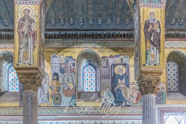Europe, Italy, Sicily, Palermo, Palatine Chapel Mosaic Mural commissioned by Norman King Roger II and completed in the 12th Century