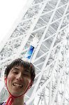 May 22, 2011, Tokyo, Japan - A man put the Tokyo Sky Tree water on the top of his head. Tokyo Skytree, the world's tallest self-standing telecommunications tower with a height of 634 meters, opens today. This new Japanese landmark is expected to attract approximately 200,000 visitors on this first official opening day to the general public. (Photo by Yumeto Yamazaki/Nippon News)