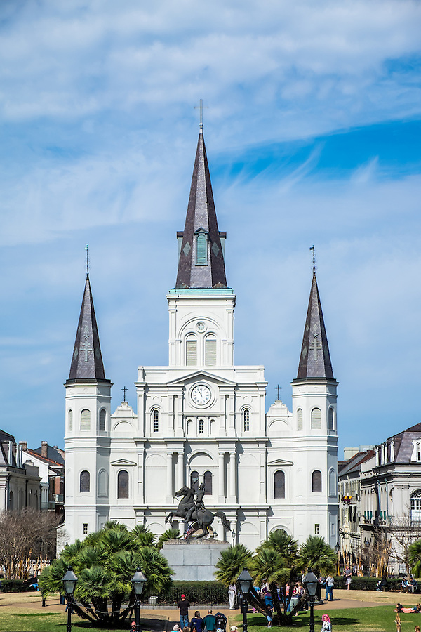 NEW ORLEANS - CIRCA FEBRUARY 2014:  St. Louis Cathedral as seen from Jackson Square in New Orleans