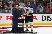 June 12, 2019: National Hockey League Commissioner Gary Bettman presents the Conn Smythe Trophy to St. Louis Blues center Ryan O'Reilly (90) during game 7 of the NHL Stanley Cup Finals between the St Louis Blues and the Boston Bruins held at TD Garden, in Boston, Mass. The Saint Louis Blues defeat the Boston Bruins 4-1 in game 7 to win the 2019 Stanley Cup Championship.  Eric Canha/CSM