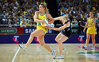 14.10.2017 Silver Ferns Shannon Francois and Australia's Liz Watson in action during the Constellation Cup netball match between the Silver Ferns and Australia at QudosBank Arena in Sydney. Mandatory Photo Credit ©Michael Bradley.