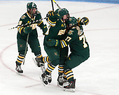 Cassidy Campeau (UVM - 18), Alyssa Gorecki (UVM - 23), Daria O'Neill (UVM - 77) -  The Boston College Eagles defeated the University of Vermont Catamounts 4-3 in double overtime in their Hockey East semi-final on Saturday, March 4, 2017, at Walter Brown Arena in Boston, Massachusetts.