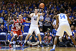 30 October 2015: Duke's Marshall Plumlee (40) passes to Brandon Ingram (14). The Duke University Blue Devils hosted the Florida Southern College Moccasins at Cameron Indoor Stadium in Durham, North Carolina in a 2015-16 NCAA Men's Basketball Exhibition game. Duke won the game 112-68.