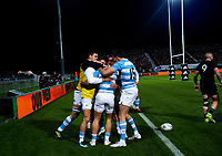 Argentina reserves celebrate Argentina's Ramiro Moyano's try during the Rugby Championship match between the New Zealand All Blacks and Argentina Pumas at Trafalgar Park in Nelson, New Zealand on Saturday, 8 September 2018. Photo: Dave Lintott / lintottphoto.co.nz