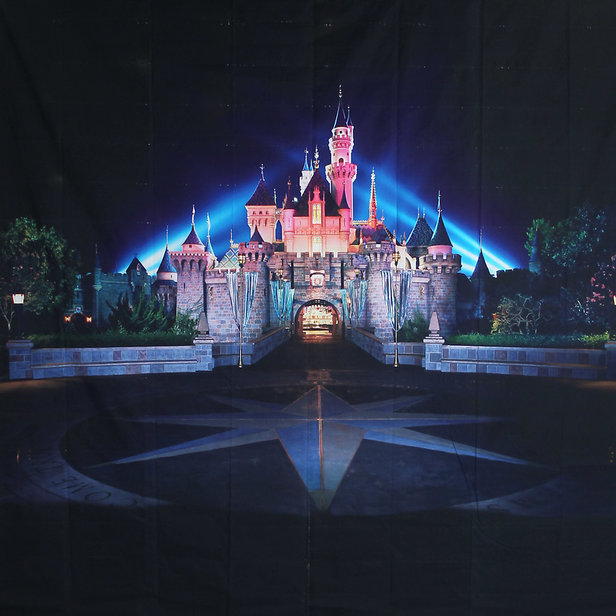 Backdrop featuring the Disneyland Castle at night