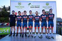 The Futuro Racing team at the opening ceremony of the NZ Cycle Classic UCI Oceania Tour at Queen Elizabeth Park in Masterton, New Zealand on Tuesday, 14 January 2020. Photo: Dave Lintott / lintottphoto.co.nz
