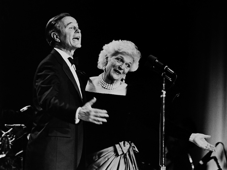 Bushes at stripes Inauguration Ball. February 4, 1989 (Photo by Andrea Mohin/CQ Roll Call)