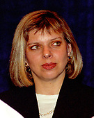 Sara Netanyahu looks on as her husband, Prime Minister Benjamin Netanyahu of Israel, speaks at the National Press Club in Washington, DC on July 10, 1996.<br /> Credit: Ron Sachs / CNP