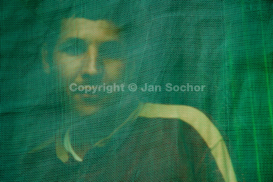 A Moroccan immigrant looks from behind the mosquito net in his house in El Ejido, Spain, 22 May 2007. El Ejido, a dry region on the coast of Andalusia, has changed during the last decades into the centre of vegetable production not only for the Spanish market. A half of Europe is supplied by tomatoes, peppers and melons from El Ejido. This economic miracle is from a major part based on a cheap labor force of illegal immigrants from Maghreb and Subsaharian Africa. Tens of thousands of workers keep the plastic sea of greenhouses running for the minimum wage of 30 Euros a day.