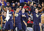 SIOUX FALLS, SD - MARCH 5:  Players on the Oral Roberts bench celebrate a 3-point basket late in their game against South Dakota State in the 2016 Summit League Tournament.  (Photo by Dick Carlson/Inertia)