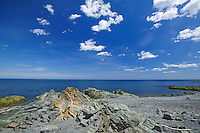 Rocky shoreline and Atlantic Ocean<br /> La Martre<br /> Quebec<br /> Canada