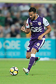 November 4th 2017, nib Stadium, Perth, Australia; A-League football, Perth Glory versus Adelaide United; Xavi Torres of the Perth Glory defends during the first half against Adelade United
