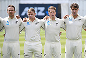 9th December 2017, Seddon Park, Hamilton, New Zealand; International Test Cricket, 2nd Test, Day 1, New Zealand versus West Indies;  New Zealand team line up L_R  Tom Blundell, Tom Latham, Henry Nicholls and Colin de Grandhomme