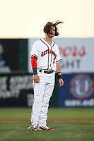 Brendan Rodgers (1) of the Lancaster JetHawks has his hair blown by the wind during a game against the Lake Elsinore Storm at The Hanger on June 12, 2017 in Lancaster, California. Lancaster defeated Lake Elsinore, 13-6. (Larry Goren/Four Seam Images)