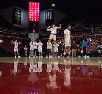 STANFORD, CA - January 5, 2019: Kyler Presho, Mason Tufuga at Maples Pavilion. The Stanford Cardinal defeated UC Santa Cruz 25-11, 25-17, 25-15.