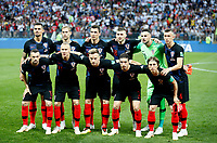 MOSCU - RUSIA, 11-07-2018: Jugadores de Croacia durante los actos protocolarios previo al partido de Semifinales entre Croacia y Inglaterra por la Copa Mundial de la FIFA Rusia 2018 jugado en el estadio Luzhnikí en Moscú, Rusia. / Players of Croatia during the formal events prior the match between Croatia and England of Semi-finals for the FIFA World Cup Russia 2018 played at Luzhniki Stadium in Moscow, Russia. Photo: VizzorImage / Julian Medina / Cont