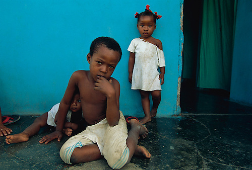 The children of sugar cane workers on the streets of the Dominican Republic.