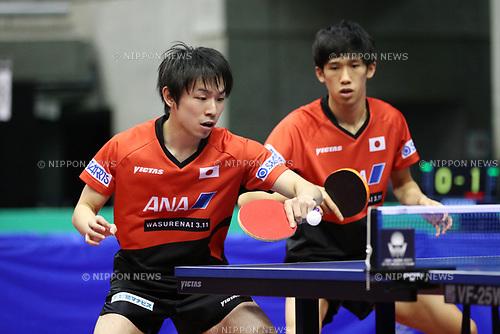 Koki Niwa &amp; Maharu Yoshimura (JPN), <br /> JUNE 15, 2017 - Table Tennis : <br /> ITTF World Tour Japan Open 2017 <br /> Men's Doubles <br /> at Tokyo Metropolitan Gymnasium, Tokyo, Japan. <br /> (Photo by YUTAKA/AFLO)