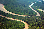 Aerial view of the Amazon River in Ecuador