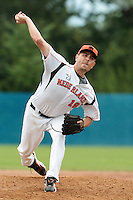 24 july 2010: Starting pitcher Robbie Cordemans of Netherlands pitches against France during Netherlands 10-0 victory over France, in day 2 of the 2010 European Championship Seniors, in Neuenburg, Germany.