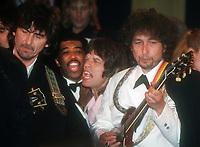 George Harrison, Ben E. King, Mick Jagger, Bob Dylan 1988, Photo By John Barrett/PHOTOlink